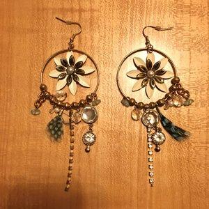 Large Boho Feather Earrings